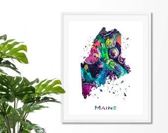 Maine Watercolor Map #2 Art Print, Poster, Wall Art, Contemporary Art, Modern Wall Decor, Office Decor