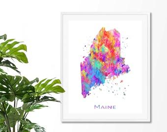 Maine Watercolor Map #3 Art Print, Poster, Wall Art, Contemporary Art, Modern Wall Decor, Office Decor