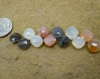 Multi Colored Moonstone | Faceted Cushion Cut Diamond Briolette Beads | Matched Pairs, Sets of 4