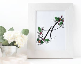 Floral Monogram Letter Print : Art / Wall Decor / Poster