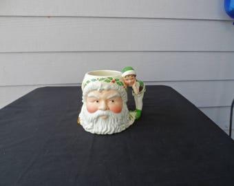 Lenox Retired  Santa's Holiday Toy Shop SANTA & ELF Figural Mug Toby Mug Christmas  1800