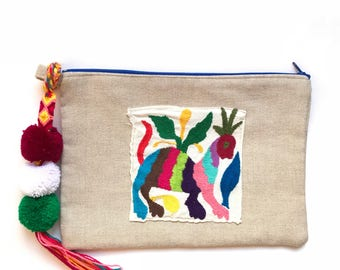 Otomi clutch, Otomi bag, Otomi embroidery, Mexican clutch, Mexican bag, Mexican hand bag, Mexican handmade bag, Embroidered bag, jute bag