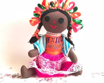 Mexican doll, maria doll, rag doll, handmade doll, cloth doll, art doll, authentic mexican doll, fiesta decorations, mexican party decor