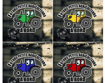 Sticky windshield car future young farmers-on board - vinyl sticker - 4 tractor color - baby shower