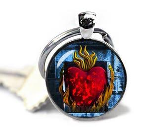 Burning Heart Keyring R'hllor Keychain Game of Thrones Lord of Light Keyfob Faceless Men