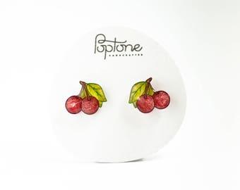 Red Cherry Earrings, cherries, rockabilly cherry studs, valentines earrings