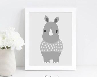 Baby Room Wall Art, Rhino Instant Download Print, Nursery Animal Print, Printable Wall Art, Grey Nursery Wall Art, Safari Animal Nursery
