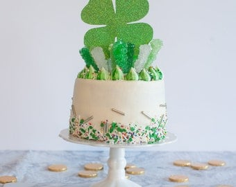 St. Patricks Day Cake Topper, Shamrock Cake Topper, Four Leaf Clover