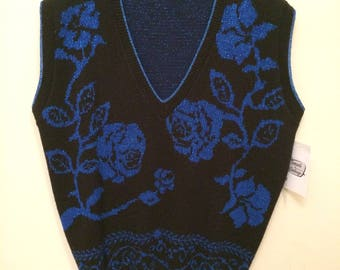 Vintage Slouchy Blue Metallic and Black Floral Sweater Vest 1980 1990 Oversized Style Large Regular fit on Extra Large