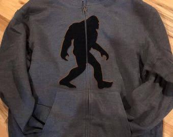 Bigfoot, Yeti, Sasquatch, With large plush Bigfoot appliqué Zip Up, with free Auto Magnet