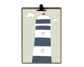 Sea lighthouse nursery print - Nursery art prints - baby nursery decor - nursery wall - Children Art - Kids Room
