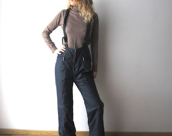 Vintage Mossant Navy Skiing Pants 70s 80s Winter Hipster Snow Pants Windbreaker Pants Medium Size Dark Blue Skiing Overalls Thin Trousers