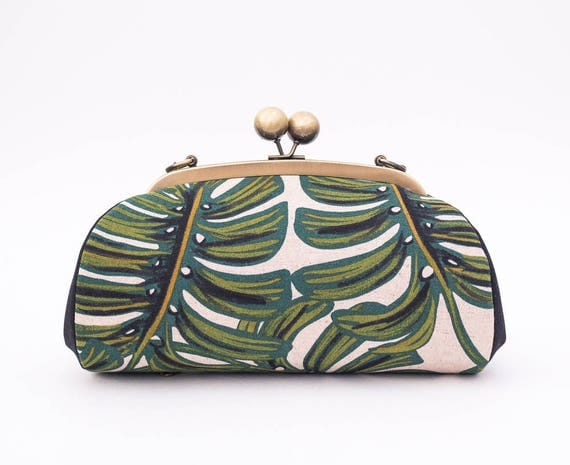 Monstera Clutch Purse with Shoulder Strap, Tropical Clutch Bag, Palm Leaves, Kiss Lock Frame Purse, Riffle Paper Co, Canvas, Gift for her