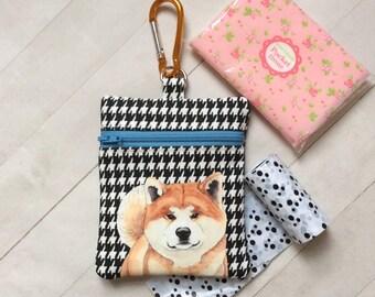 Dog Walking Bag, Akita Dog Pouch, Dog Treat Bag, Akita Dog Lover Gift, Zipper Pouch, Dog Birthday Gift, Gift For Her, Cotton Fabric