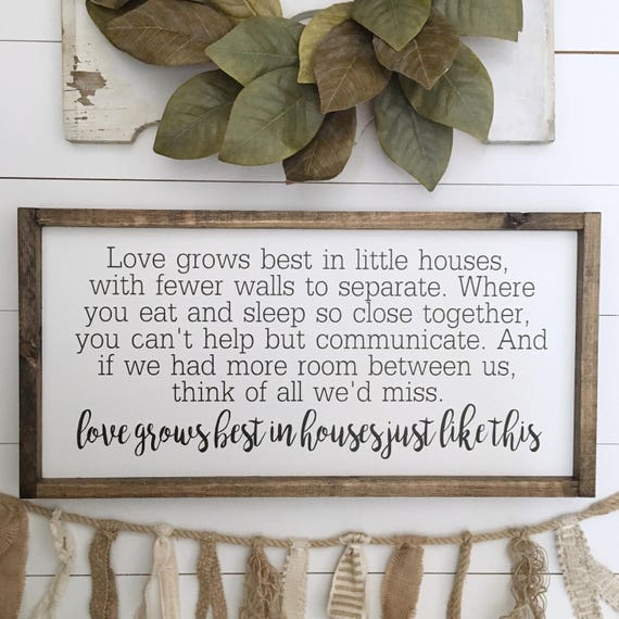 Love Grows Best | 25x13 | Wood Framed Sign | Farmhouse Decor | Wall Décor | Gallery Wall Sign | Painted Sign | Rustic Decor |