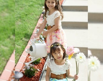 Lace Chiffon Floral Dress with Belt