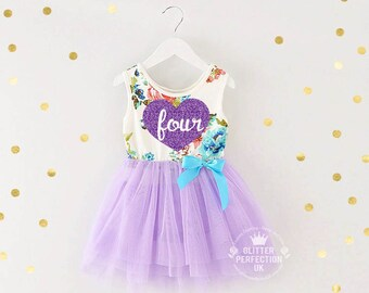 Fourth birthday outfit, 4th birthday dress, Fourth Birthday Party 4th Birthday Outfit,Purple tutu dress,  floral dress, Lavender heart