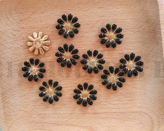 Daisy Flower Embellishment Metal Alloy Daisy Flower Hair Bow Center Scrapbooking Card Making Supplies Wholesale | Black
