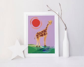 ORIGINAL ARTWORK Giraffe 'Sunrise' Paper Cut Out Nursery Art