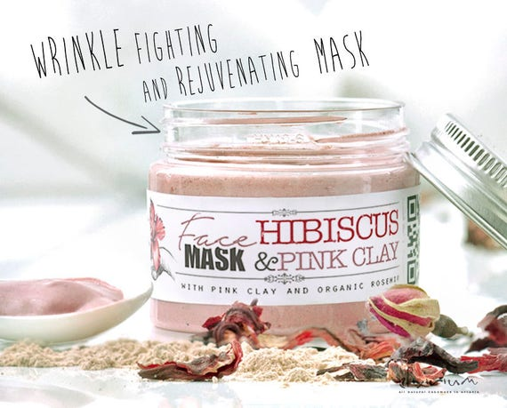 HIBISCUS & PINK CLAY Organic Face Mask with Rosehip • Powerful anti aging and anti wrinkle, rejuvenating facial mask.