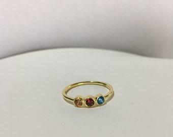 Birthstone Ring- 3 Birthstone Ring, Personalized Family Gift, Custom Birthstone Ring-Family Ring- Family Birthstone Ring- Personalized Gift