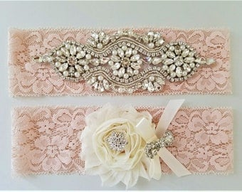 Wedding garter, Bridal Garter Set - Crystal Pearl Blush Lace Wedding Garter Set