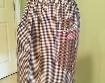 Vintage Gingham half apron, Embroidered Gingham Apron, Retro Gingham Apron, Cat Cross Stitch