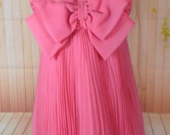 Absolutely Gorgeous Pink Accordian Pleat Dress with Big Pink Bow
