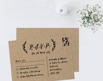 Wedding RSVP postcard, Wedding invitation and rsvp cards, Wedding RSVP post cards, RSVP enclosure, Rustic wedding response cards, A6