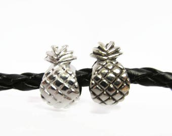 Silver Pineapple Beads, Large Hole Beads, Metal, European Bead, For Paracord, Jewelry, Hair, 10, 25, 50, Beads, Charms