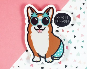 Vacation Corgi Vinyl Sticker | Welsh Corgi Gift | Die Cut Sticker | Hipster Sticker | Cute Sticker | Laptop Sticker | Kawaii Sticker