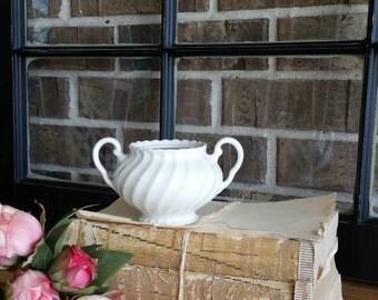 White Sugar Bowl/Vase/Vintage bowl/Made in England