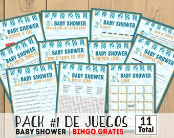 Baby shower games in spanish, printables games, printable baby shower, blue baby shower party, in spanish, juegos baby shower, en español