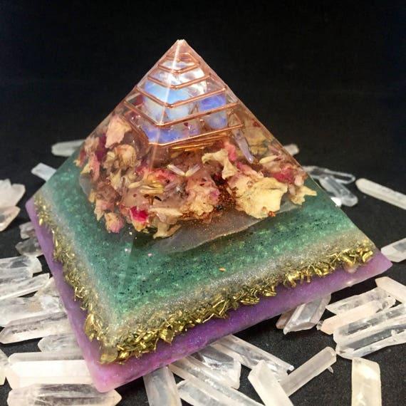 Sacred Feminine Orgonite® Pyramid- Moon Cycles Orgone Energy Pyramids- Fertility- Hormone Balancing- Empowering Feminine Energy Orgonite