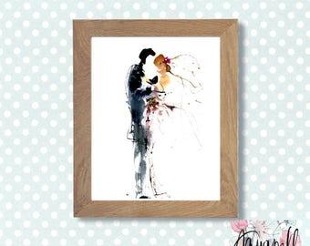 "Wedding watercolor painting ""Romantics"", Digital art to custom Wedding invitations Save the date, Favors, Watercolor poster, Art Home decor"