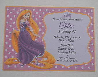Pack of 10 ~ 'Tangled / Rapunzel' theme party invitations