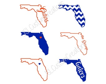 Florida SVG, eps, DXF, png Cut Files for Silhouette, Cricut, Vectors, Digital Download, Gators, Swamp, Football, College, State Shapes, 6