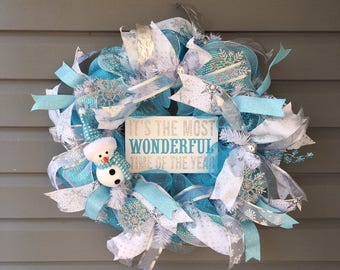 Christmas Wreath for Front Door, Xmas Wreath, Blue Christmas Wreath, Snowman Wreath, Winter Wreath, Large Blue White Deco Mesh Wreath