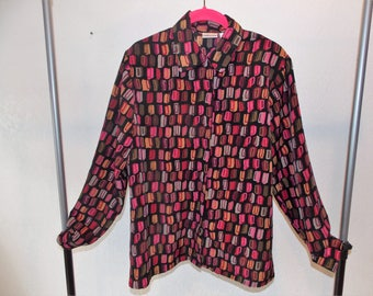 Anna Vintage Novelty Print Women's Button-up Long Sleeve Top Size Medium
