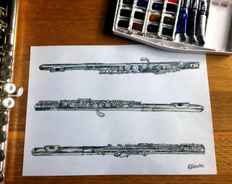 3 Flutes Drawing - continuous line drawing and watercolours, study of flute