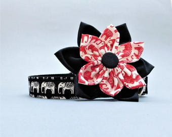 Stylish girly dog collar with flower, Strong buckle, Black elephant for girls, large, small, medium, Female big, Cool puppy, Summer pet gift