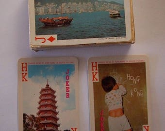 Vintage Famous Views of Hong Kong in Color Playing Cards by Fairy Brand No. 505
