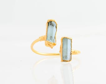 Raw Aquamarine Ring, Aquamarine Open Ring, Raw Adjustable Ring, Blue Aquamarine Statement Ring, March Birthstone Ring, Two Gems AQU/D-G-R-M