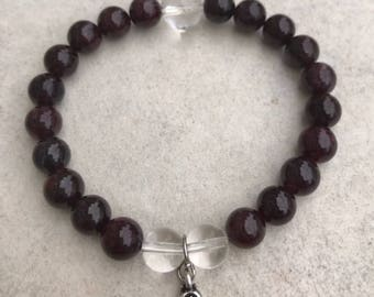 Garnet and Clear Quartz 8mm Beaded Gemstone Bracelet with 10mm Silver Paisley Floral Design Charm - CREATIVITY & CONFIDENCE