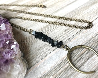 Black Jasper Pendant Necklace // Unique Long Necklace // Black Stone Necklace // Long Edgy Necklace // Long Boho Necklace // Natural Stone