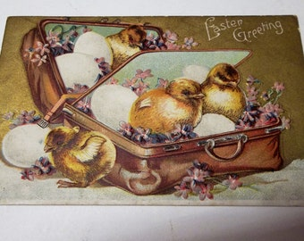 Vintage Easter Postcard Chicks In Suitcase