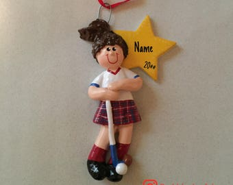 SALE! Field Hockey, Female Ornament, Personalized