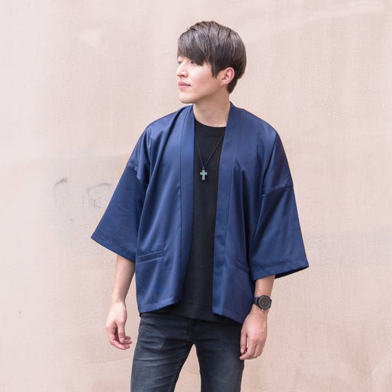 Men's Navy Japan Kimono Cardigan Man Noragi Coat