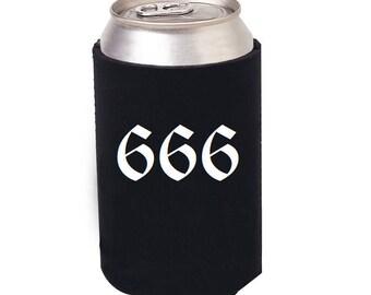 666 Beer can cooler, 666 can cozie, 666, Satanatic Beer Cooler, Satan and Beer, Baphomet, Occult, Pentagram beer cozie, Satan, Satanic decor