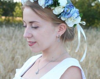 White and blue, flower crown, flower headband, flower hair wreath, wedding crown, bridesmaid hair accessories, white peonies flower crown